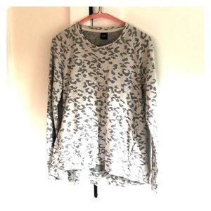 Gray and cream leopard print sweatshirt